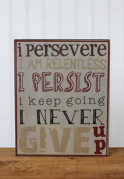 I Persevere Primitive Box Sign