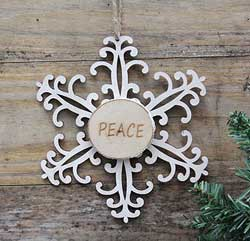 Snowflake Wood Slice Ornament - Peace