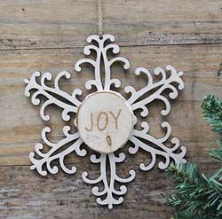 Snowflake Wood Slice Ornament - Joy