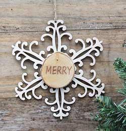 Snowflake Wood Slice Ornament - Merry