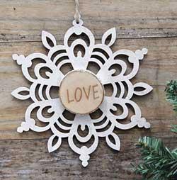 Snowflake Wood Slice Ornament - Love