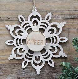 Snowflake Wood Slice Ornament - Cheer