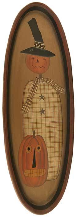 Pumpkin Scarecrow Oval Tray