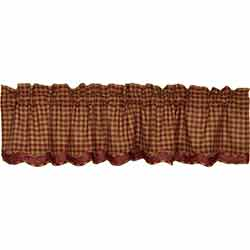 Burgundy Check Valance - Layered
