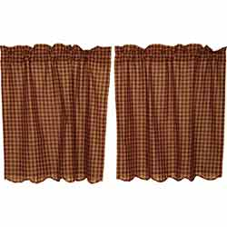 VHC Brands Burgundy Check Cafe Curtains - 36 inch Tiers