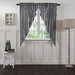 VHC Brands Annie Buffalo Black Check Prairie Curtain