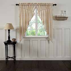 VHC Brands Annie Buffalo Tan Check Prairie Curtain