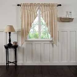 VHC Brands Annie Buffalo Tan Check Prairie Curtain