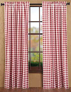 Buffalo Check Red Curtain Panels