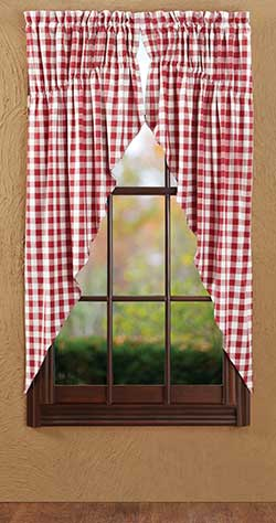Buffalo Check Red Prairie Curtain (63 inch)