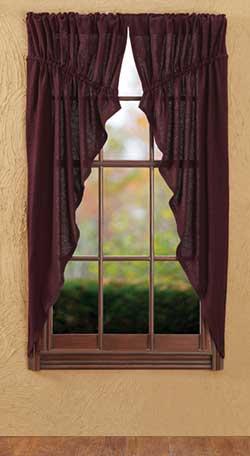 VHC Brands (Victorian Heart) Burlap Merlot Prairie Curtain (63 inch)