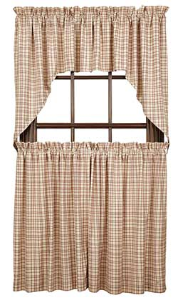 Tacoma Cafe Curtain - 36 inch (Red and Cream Plaid)