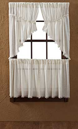 Tobacco Cloth Prairie Swag - Antique White