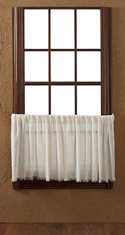 VHC Brands Antique White Tobacco Cloth Cafe Curtains - 24 inch Tiers