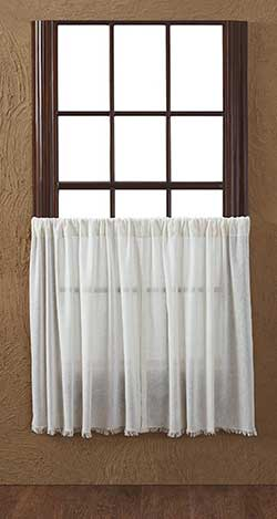 VHC Brands Antique White Tobacco Cloth Cafe Curtains - 36 inch Tiers