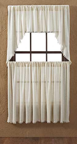 Tobacco Cloth Cafe Curtains - Natural (36 inch)