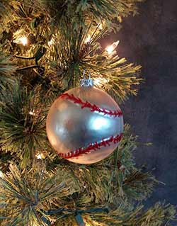 Glass Baseball Ornament