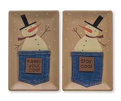 Snowmen in Denim Pockets Trays (Set of 2)