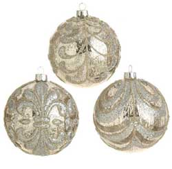 Antiqued Silver Beaded Glass Ornament