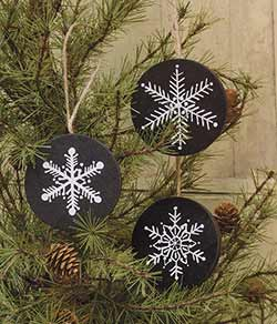 Primitive Snowflake Ornaments (Set of 3)