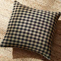 Navy Blue & Tan Check Decorative Pillow