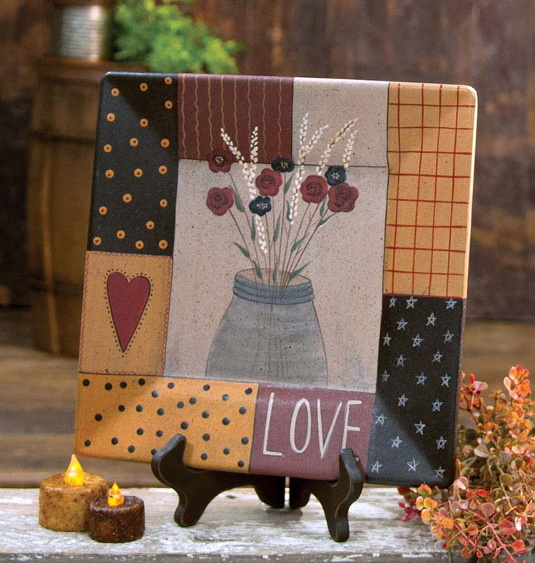 Patchwork Love Primitive Plate