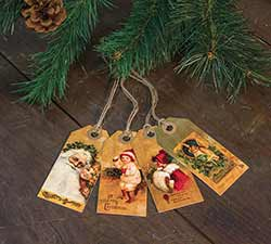 Old Fashioned Merry Christmas Tags (Set of 4)