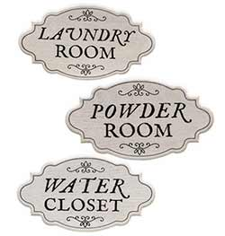 Powder Room, Laundry Room, or Water Closet Sign