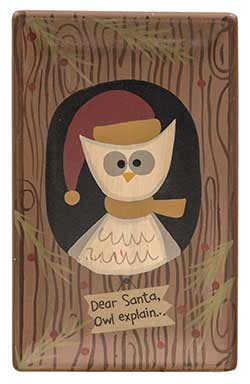 Dear Santa Owl Explain Primitive Tray