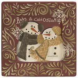 The Hearthside Collection Baby It's Cold Outside Snowman Plate