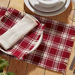 Breckenridge Burlap Red Plaid Placemats (Set of 6)
