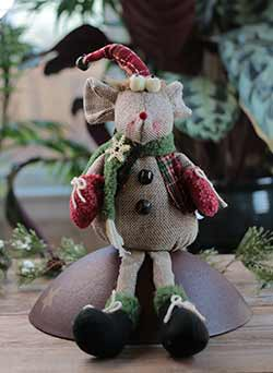Scarved Mouse Sitting Doll with Stocking Hat