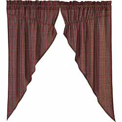 Tartan Red Plaid 63 inch Prairie Curtain