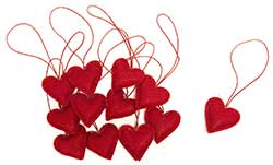 Red Felt Heart Ornaments (Set of 12)