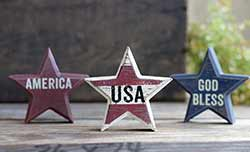 Primitive USA Star Sitters (Set of 3)