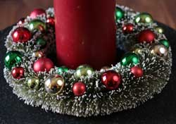 Bottle Brush Wreath Ornament / Candle Ring