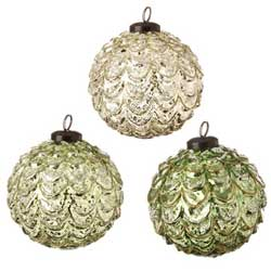 Gold or Green Glittered Ball Ornament