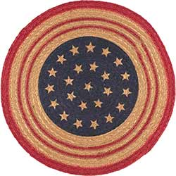 Liberty Stars Round Braided Placemat