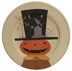Jack o'Lantern with Halloween Scene Plate