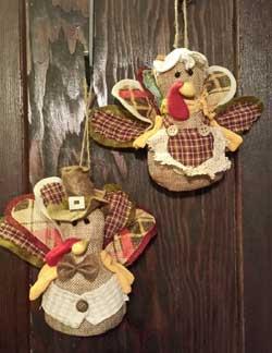 Hanna's Handiworks Burlap Turkey Ornament