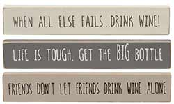 Wine Mini Shelf Sitter Signs (Set of 3)