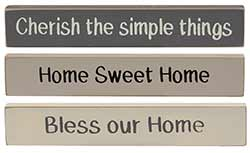 Home Mini Shelf Sitter Signs (Set of 3)