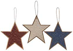 Rustic Patriotic Star Ornaments (Set of 3)