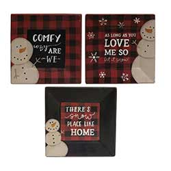Snowman Buffalo Check Plates (Set of 3)