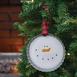 Snowman Face Bottlecap Ornament