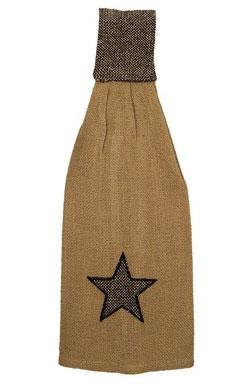 Burlap Star Hanging Dishtowel