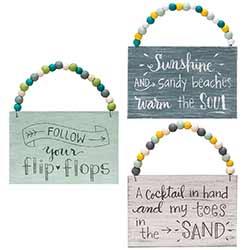 Sand, Sunshine, & Flip Flops Beaded Sign Ornaments (Set of 3)