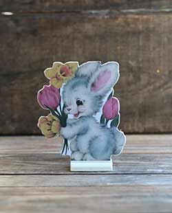 Vintage Easter Dummy Board - Bunny with Flowers
