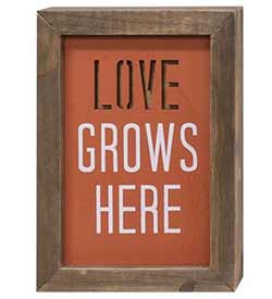 Love Grows Here Framed Wood Sign