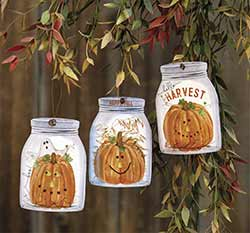 Pumpkin Mason Jar Ornaments (Set of 3)